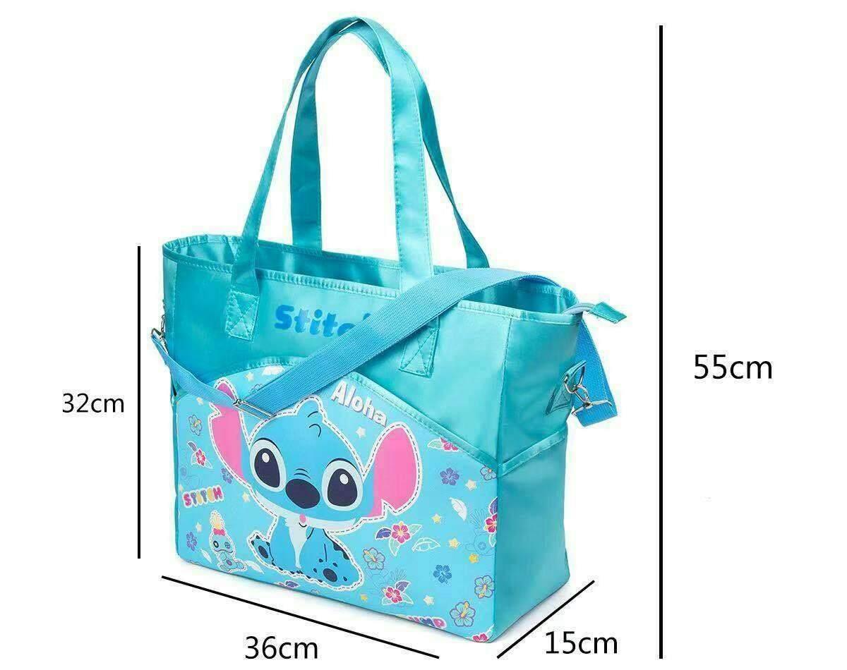 กระเป๋าสะพายไหล่ ขนาดจัมโบ้ มีซิปรูดปิดด้านบน ใส่เสื้อผ้าเดินทางได้ ขนาด 32×36×15 Cm ลาย สติช  Stitch.