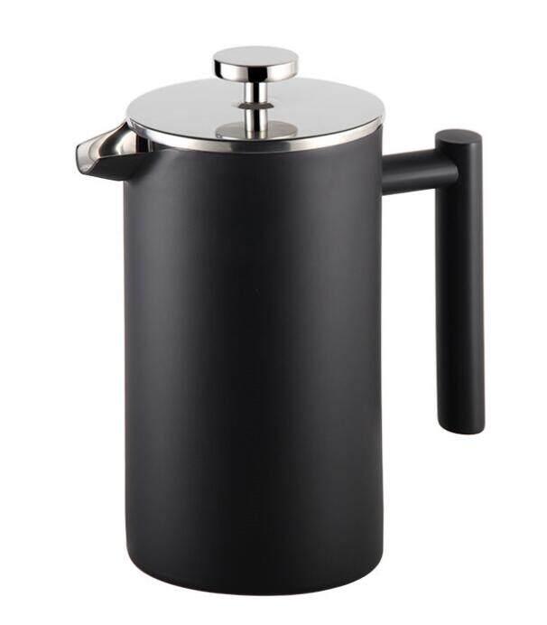 เครื่องทำกาแฟ เฟรนเพรส สแตนเลส สีดำ-เงิน 800 มล.  Coffee At Home Stainless Steel French Press 800 Ml, 27oz Up To 7 Cups.