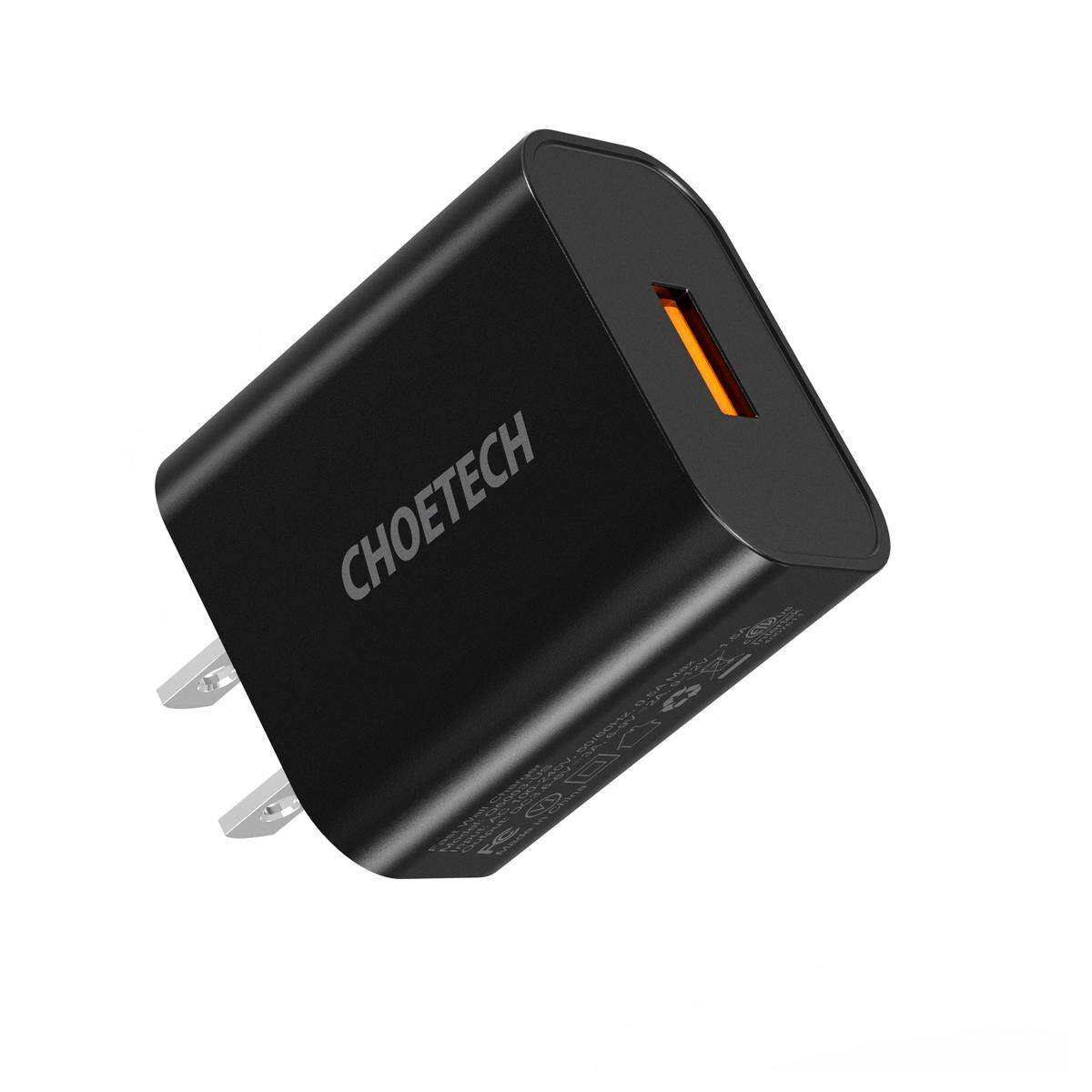 CHOETECH QC 3.0 USB Wall Charger 18W USB A Wall Charger Quick Charge Compatible with Apple iPhone iPad Samsung Galaxy and More