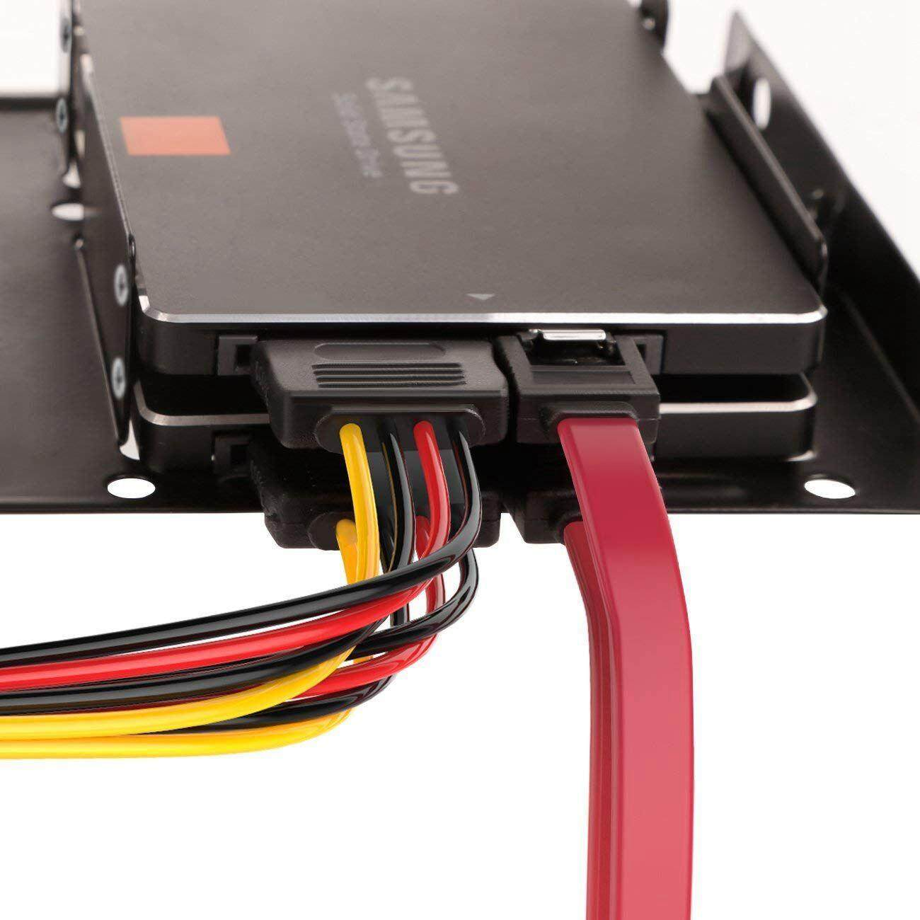 """2.5/"""" Two SSD HDD to 3.5/"""" Frame Metal Mount Frame SATA Data Power Cable Wire Kit"""