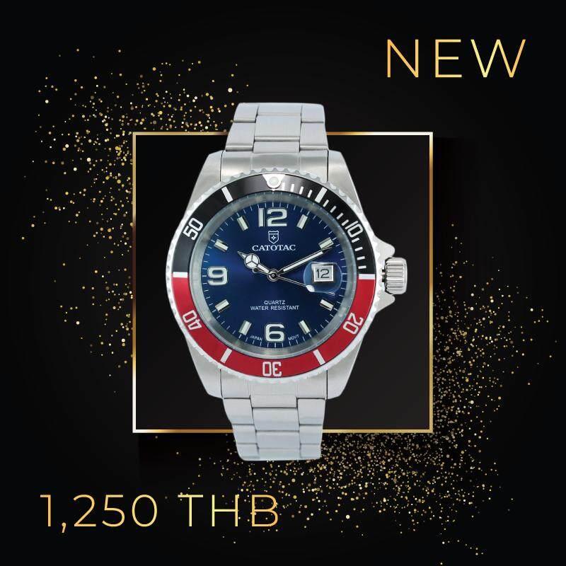 Catotac นาฬิกาข้อมือผู้ชาย สายสแตนเลสสีเงิน หน้าปัดสีน้ำเงิน รุ่น Ga98029 By Catotac.