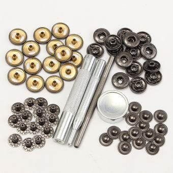 15 เซ็ต 15 มิลลิเมตรกดสีดำชุดสกรูหมุดยึดกระดุมแป๊ก Fastener จักรเย็บผ้าปุ่ม - INTL-