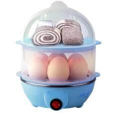 ส่วนลด สินค้า เครื่องต้มไข่ หม้อนึ่งอเนกประสงค์ 2 ชั้น Blue
