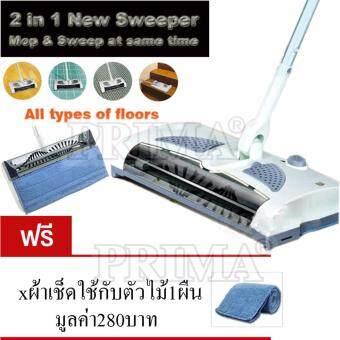 2 In 1 Cordless Electric Sweeper And Mop Rechargeable battery Rotary Rod 360 Degree For Carp ไม้ถูพื้น + ไม้กวาด ไฟ้ฟ้ไม้ดูดฝุ่น ไม้กว่าด ไม้ถู