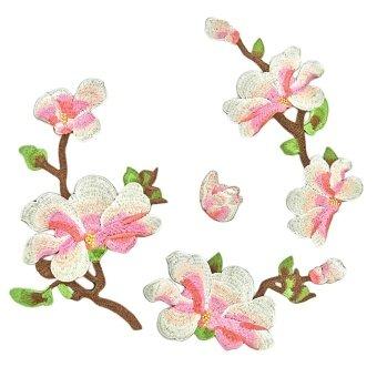 4 PCS Elegant Embroidery Magnolia Flower DIY Clothes Patches Set Garment Decoration for Cheongsam Dress T-shirt Jeans Clothing Bags - intl