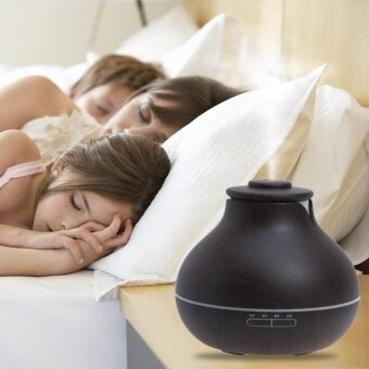 400ml Essential Oil Diffuser Wood Grain Ultrasonic Aroma Cool Mist Humidifi(Black)-US - intl