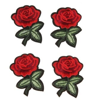5pcs Red Rose Flower Embroidery Cloth DIY Sewing Iron on Patch(7X5cm) - intl