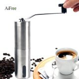 ขาย ซื้อ ออนไลน์ Aifree Manual Coffee Grinder With Adjustable Ceramic Burr Stainless Steel Small Size 30G Coffee Powder Yield For Home Office Silver Intl