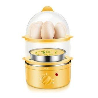 DJSHOP เครื่องต้มไข่ หม้อนึ่งอเนกประสงค์ 2 ชั้น แบบตั้งเวลาได้ XB-EC03 (สีเหลือง)(Yellow)