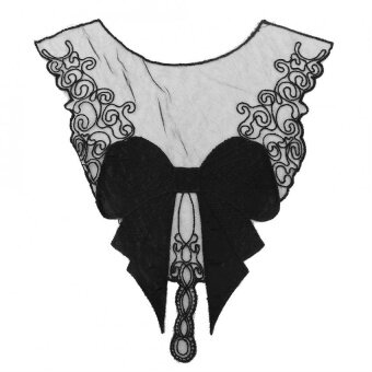 Embroidered Neckline Collar Lace Patches Sewing Trimming (Black) - intl