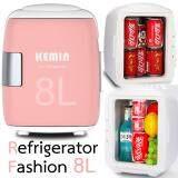 Hot Item Mini Refrigerator Fashion 8L ตู้เย็นแฟชั่นมินิ 8 ลิตร ไฟบ้าน ไฟรถ Orange ไทย