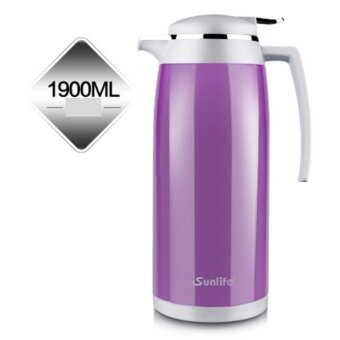 Stainless Steel Thermos Flask 1.9L Vacuum Insulation Kettle Coffee Tea Pot Hot Water Bottle Insulation Pot Chinese Insulation Cup (Purple) - intl
