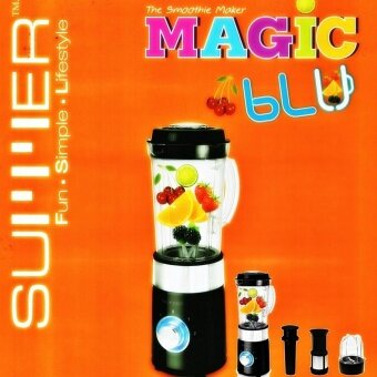 SUMMER MAGIC BLU ซัมเมอร์ เครื่องปั่นอเนกประสงค์ ทรงกลม สำหรับ น้ำผลไม้สด ซุป หรือสมูทตี้ ปั่น บด สับ ละเอียด ดีไซน์สวยงามด้วยไฟ LED รอบสวิตช์ มีระบบตัดไฟอัตโนมัติ และระบบล็อกนิรภัย (Safety Lock)