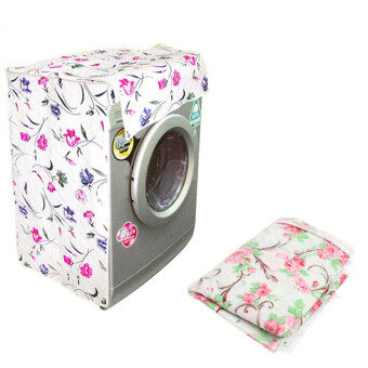 Waterproof Washing Machine Zippered Top Dust Cover Protection Top /Front Cover Pink Flower - Intl