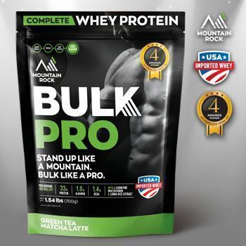 เวย์โปรตีน Mountain Rock Whey BULK PRO 4 รางวัลระดับโลก สร้างกล้าม โปรตีนสูง 33g รสชาเขียวแท้ อร่อย ไม่หวาน ไร้น้ำตาล ไร้ไขมันทรานซ์