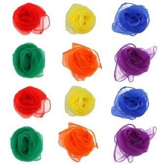 12pcs Hemmed Square Juggling Dance Scarves (Assorted Color) - Intl