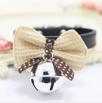 1 Pcs Kawaii Solid Color Leather And Bells Pets Collars Adjustable Pets Collars - intl