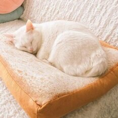 ส่วนลด สินค้า 2017 New Design Bread Toast Cat Bed Soft Fleece Detachable Small Dog Bed Washable Cushion Mat Intl