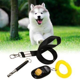 ชุดอุปกรณ์ฝึกสุนัข 3 in 1 นกหวีดอัลตราโซนิค+ คลิกเกอร์ Clicker+ เชือกห้อยคอ