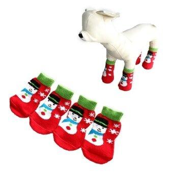 4 ชิ้น PET Dog Puppy CAT รองเท้ารองเท้าแตะถุงเท้าลื่น Snowman L โดย WWang