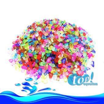 หินสี หินแก้ว ตกแต่งตู้ปลา 500g สีสายรุ้ง เนื้อใสสวยงาม