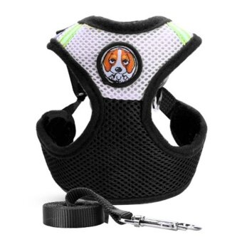 Adjustable Pet Collars Puppy Cat Leash Vest Mesh(Black)-L - intl