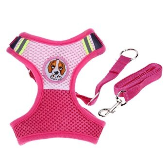 Adjustable Pet Collars Puppy Cat Leash Vest Mesh(Rose)-S - intl