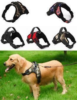 Big Dog Soft Harness ปรับสัตว์เลี้ยงสุนัข สายคล้องคอสายคล้องคอขนาดใหญ่สำหรับสุนัขขนาดเล็กและใหญ่ Pitbulls -Leopard (XL)