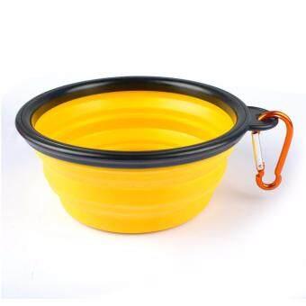 ชามใส่อาหารและน้ำแบบพกพา ชามซิลิโคนพกพา พับเก็บได้ สำหรับสุนัขและแมว (สีเหลือง)แถมฟรี! ที่ห้อยพวงกุญแจ ตะขอห้อย(มูลค่า50บาท)