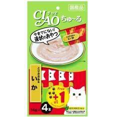 CIAO Chu-ru ขนมแมวเลีย รสเนื้อสันในไก่ & ปลาหมึก ขนาด 14 กรัม x 4 ฟรี 1 ซอง จำนวน 6 แพ็ค