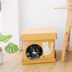 ส่วนลด สินค้า กล่องบ้านแมว Cube สติ๊กเกอร์ลายแมวสีทอง บ้านแมว ที่ลับเล็บแมว ของเล่นแมว