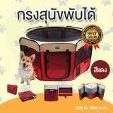 ขาย Dekdeetoys คอกหมาพับได้ คอกสุนัขพับได้ กรงสุนัขพับได้ กรงหมาพับได้ และกรงแมวพับได้ กางและพับเก็บได้ง่าย สีแดง Size Xl ขนาด 64X140 Cm ออนไลน์