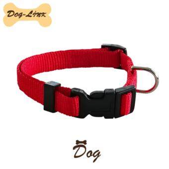 Dog-Link ปลอกคอคละสี 25 มิล สีแดง