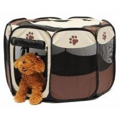 กรงสนาม กรงสุนัข พับได้ Elitefield Dog Cage Size 73cmx73cmx43cm (brown/สีน้ำตาล) By Flashing.