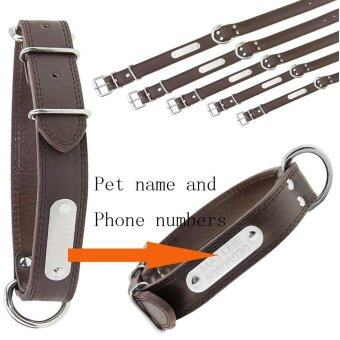 Genuine Leather Dogs Cats Pets Collars(Free Engraving)Custom Personalised ID Plate With NameNumberWith Adjustable D-ring Metal Buckle Collar for Small Medium Large Dogs CatsBrown L (neck girth 45-55cm) - intl