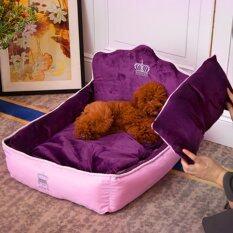 ซื้อ Hippo ที่นอนน้องหมา เตียงนุ่มแนวยุโรป เบาะนุ่ม วัสดุเย็บพรีเมียม Size S ขนาด 36X53X36Cm สีม่วง ใน Thailand