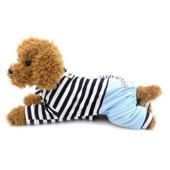 Jumpsuit สำหรับสุนัขขนาดเล็กที่มีกางเกงยีนส์ชุดสุนัขสัตว์เลี้ยงลายเสื้อ Yorkie เสื้อผ้าสีน้ำเงินเอ็ม-