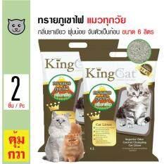 ขาย King Cat ทรายแมวภูเขาไฟ กลิ่นชาเขียว สูตรจับตัวเป็นก้อนง่าย ฝุ่นน้อย สำหรับแมวทุกวัย ขนาด 6 ลิตร X 2 ถุง None ผู้ค้าส่ง