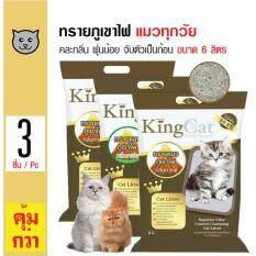 โปรโมชั่น King Cat ทรายแมวภูเขาไฟ คละกลิ่น สูตรจับตัวเป็นก้อนง่าย ฝุ่นน้อย สำหรับแมวทุกวัย ขนาด 6 ลิตร X 3 ถุง ใน กรุงเทพมหานคร