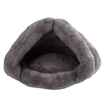 kobwa Cat Sleeping Bag Warm Soft And Comfortable Puppy Cat Kitten Cave Nest Grey 19.6x17.3x14.5inch Suit For 7-13lb Pet - intl