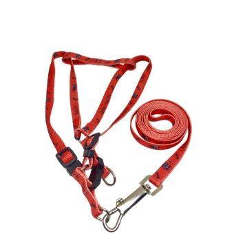 สายรัดหน้าอกพร้อมสายจูงสำหรับสุนัขขนาดเล็ก สีแดงลาย Love dog