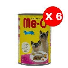 Me-O Seafood อาหารแมวชนิดเปียกสำหรับแมวทุกสายพันธุ์ สูตรซีฟู้ด 400กรัม 6 กระป๋อง By T.u. Pet Shop.