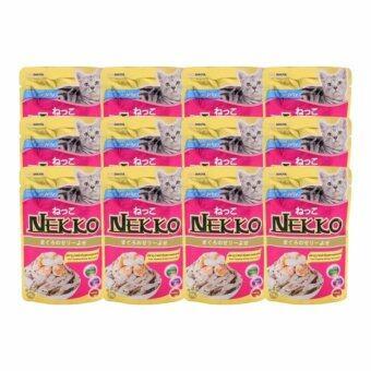 NEKKOอาหารเปียกแมว รสปลาทูน่าหน้ากุ้ง และหอยเชลล์70g ( 12 units )