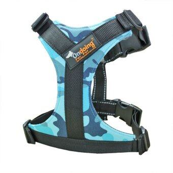 Ondoing No Pull Dog Harness Padded for Car Travel with Impact SeatBelt Dog Vest Harness for Training Walking Dogs Adjustable withReflective StitchingHandle Camouflage Blue Large - intl