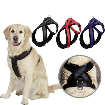 Pet Big Dog Harness Adjustable with Dog Traction Rope Dog Adjustable Safety Belt Blue S - intl