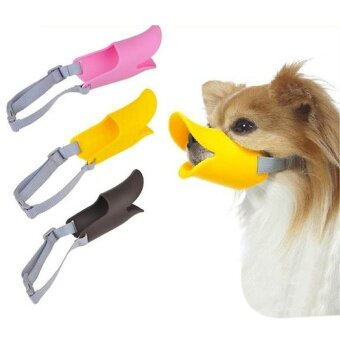 Pet Puppy Dog Cat Muzzle Quack Duck Bill Design Soft Silicone Bite Stop Yellow 4.5cm - intl
