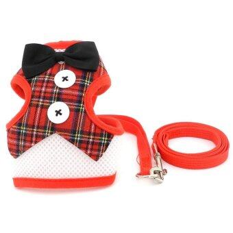 Pet Soft Mesh Tuxedo Gentleman Harness Vest and Lead for Small Dog Cat Padded Adjsutable Red Plaid M - intl