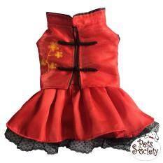 Petsociety เสื้อสุนัข เสื้อแมว ชุดกระโปรงคอจีน ปักดอกไม้ – สีแดง  5 By Petsociety.