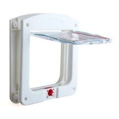 ราคา ราคาถูกที่สุด Qjq Plastic 4 Way Cat Dog Small Pet Locking Door Flap White Intl
