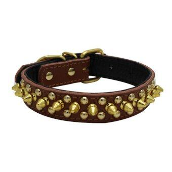Rivet Spiked Studded PU Pet Collar for Cats Puppy Dogs - Size L (Brown) - intl